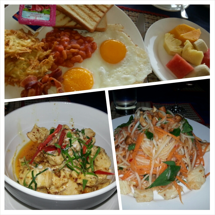 Some of the food we had at Saracen Bay Resort: American Breakfast, Chicken Amok, Chicken Papaya Salad