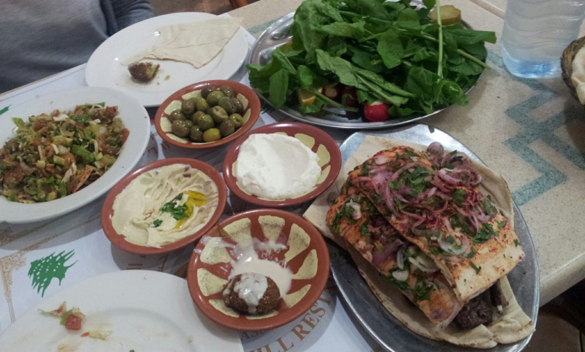 Lebanese Mill Restaurant Dinner Spread