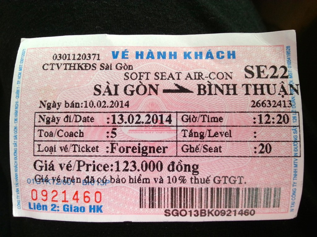 SE22 Reunification Express Train Vietnam Ticket