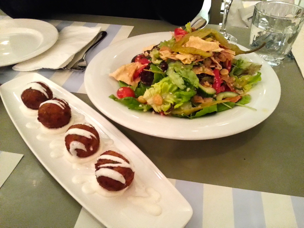 Things to do in Athens for Foodies: Kuzina Restaurant Zucchini Balls and Fatoush Salad