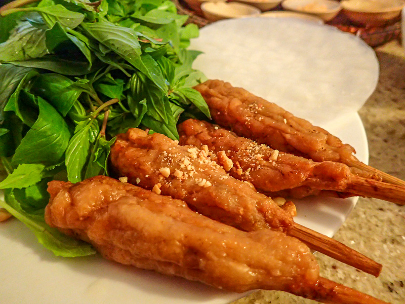 Things to do in Vietnam: Saigon Meat Skewers and Herbs