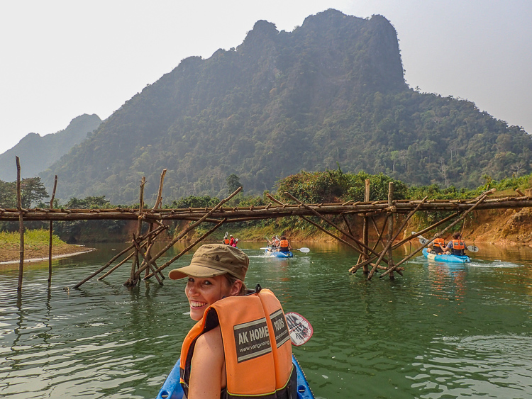Navigating underneath a Bridge over Nam Song River Laos