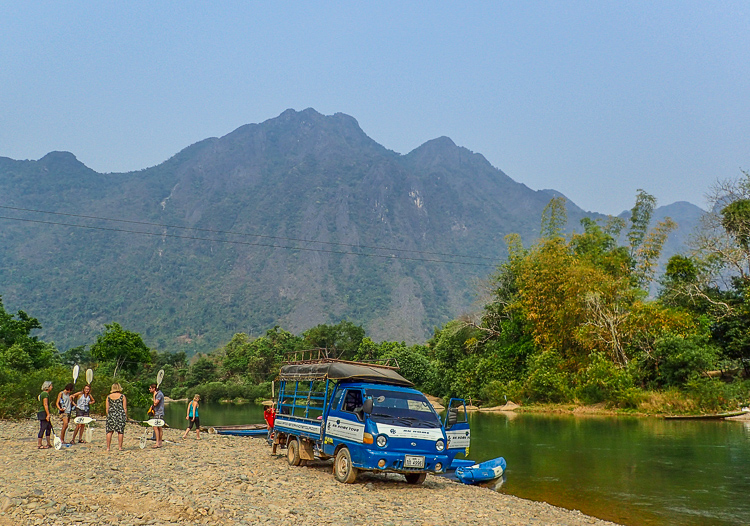 Getting Ready for Kayaking in Vang Vieng