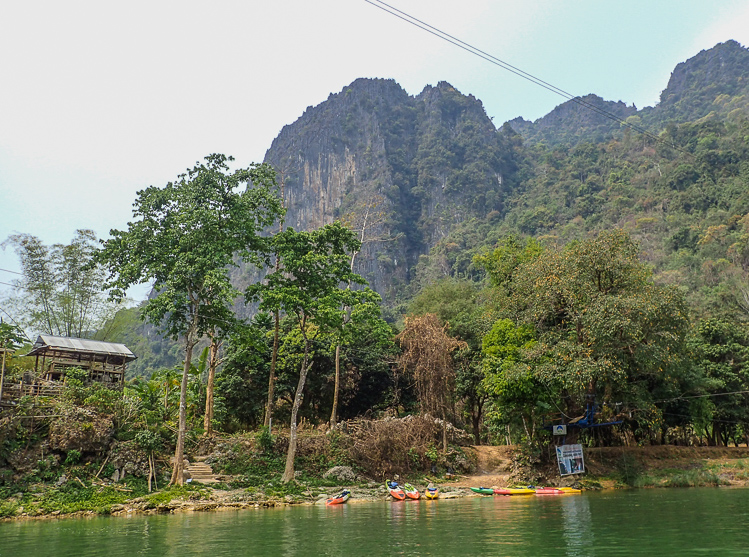 Kayaks on Shore of Nam Song in Vang Vieng