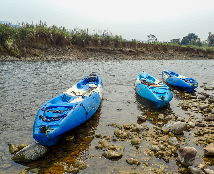 Kayaks on the Shore in Vang Vieng