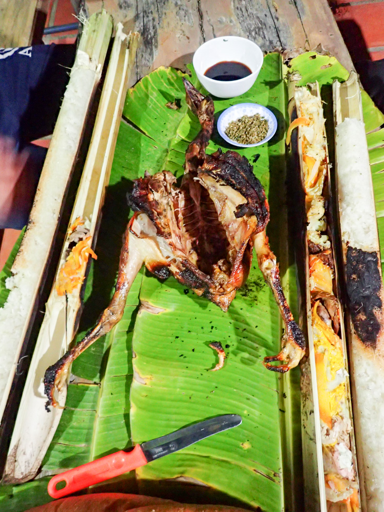 Our barbecue dinner: Fire cooked chicken and bamboo steamed rice and vegetables