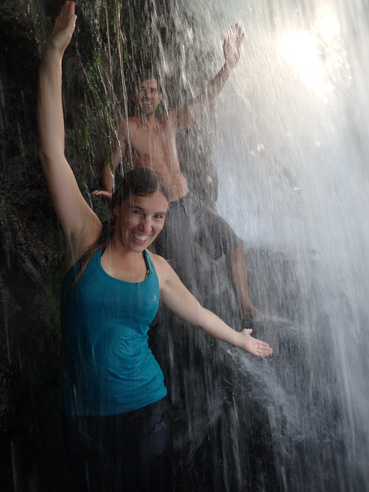 Hanging out inside the upper waterfall at Dray Sap