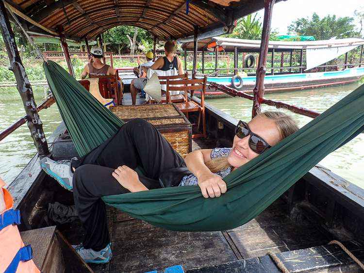 Hanging out on a hammock during our Mekong Delta boat tour