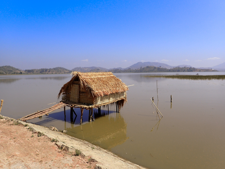 A Small wooden hut with bridge on Lak Lake