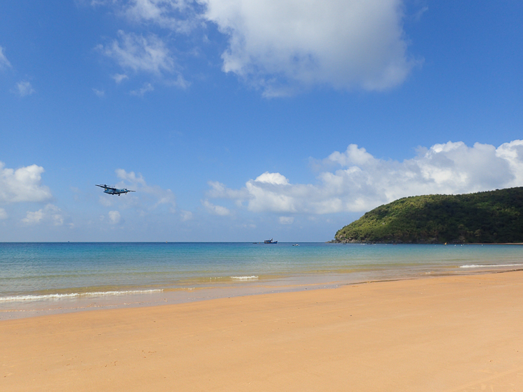 Plane Spotting at Con Dao's Airport beach, one of the top beaches of Vietnam