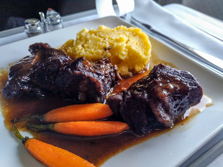 Braised beef cheeks AA business class