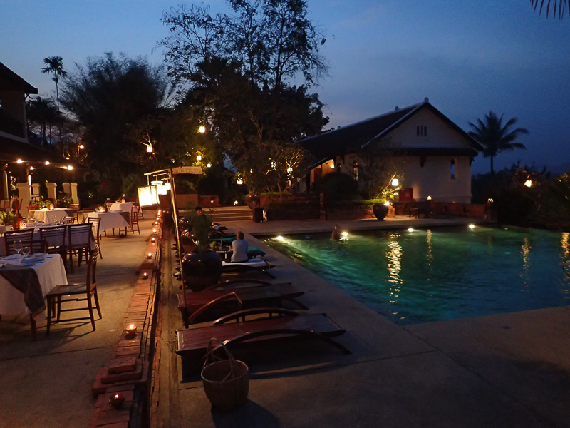 Belmond La Residence Phu Vao Pool at Night