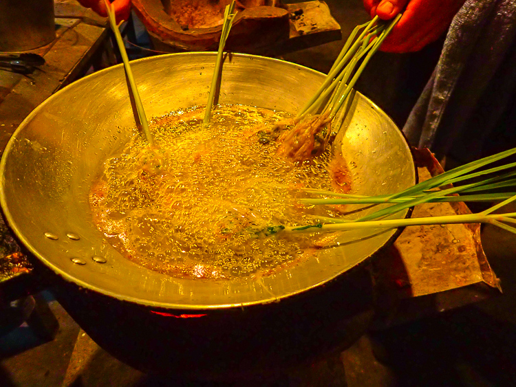 Frying Lao Stuffed Lemongrass