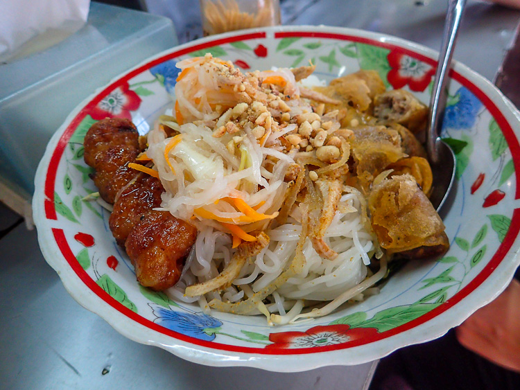 Bun Nem Nuong Vietnamese Rice Noodles with Grilled Pork and Crispy Spring Rolls