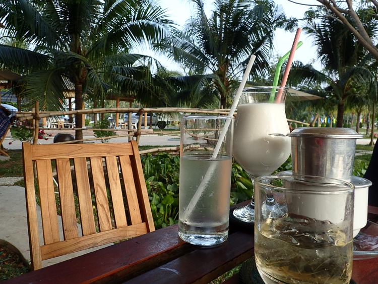 Coconut Smoothies at Café Lang Van in Ben Tre